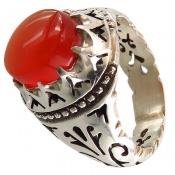 انگشتر عقیق یمنی سرخ خوش رنگ مردانه