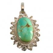 مدال فیروزه نیشابوری درشت جواهری زنانه