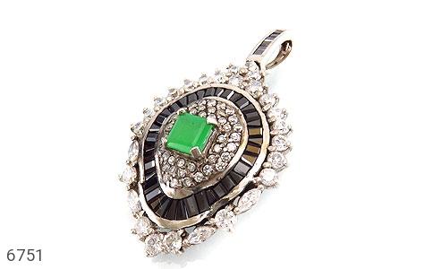 مدال نقره درشت طرح جواهری زنانه - عکس 1