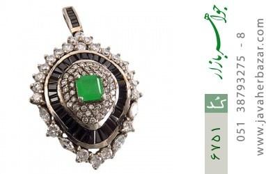مدال نقره درشت طرح جواهری زنانه - کد 6751