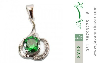 مدال نقره نگین سبز زنانه - کد 6766
