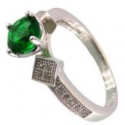 انگشتر نقره نگین تراش سبز زنانه