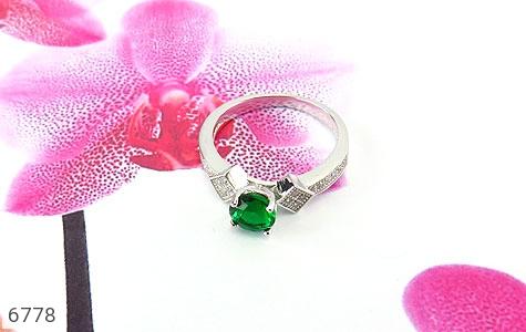 انگشتر نقره نگین تراش سبز زنانه - تصویر 4