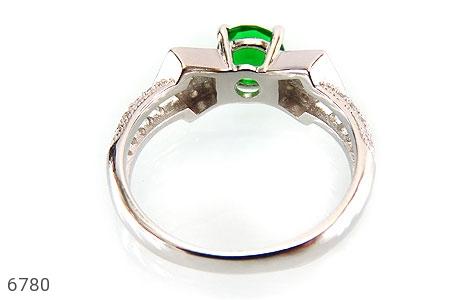 انگشتر نقره نگین سبز خوش رنگ زنانه - تصویر 4