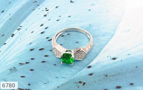 انگشتر نقره نگین سبز خوش رنگ زنانه - عکس 5