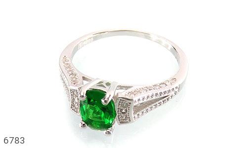 انگشتر نقره نگین تراش سبز زنانه - عکس 1