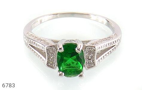 انگشتر نقره نگین تراش سبز زنانه - تصویر 2