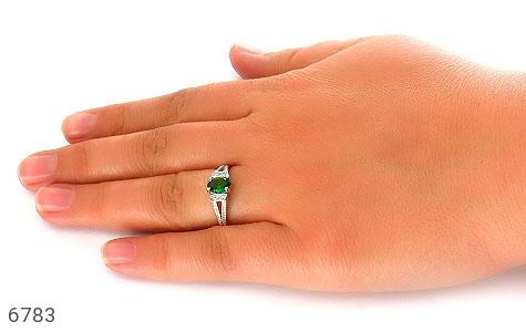 انگشتر نقره نگین تراش سبز زنانه - تصویر 6