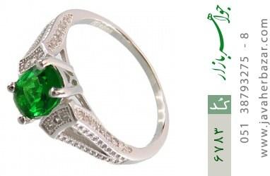 انگشتر نقره نگین تراش سبز زنانه - کد 6783
