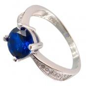 انگشتر نقره نگین آبی تراش زنانه
