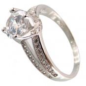 انگشتر نقره سولیتر دو حلقه زنانه