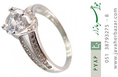 انگشتر نقره سولیتر دو حلقه زنانه - کد 6786