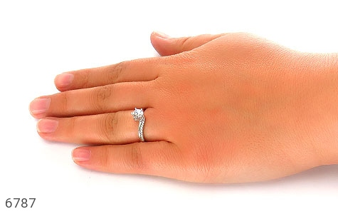 انگشتر نقره سولیتر پرنسسی زنانه - تصویر 6