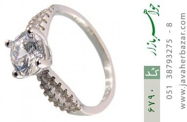 انگشتر نقره سولیتر الماس نشان زنانه - کد 6790
