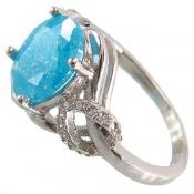 انگشتر نقره نگین آبی جذاب زنانه
