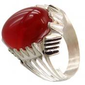 انگشتر عقیق سرخ درشت مردانه