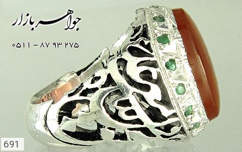 انگشتر عقیق قلم زنی علی مع الحق الحق مع علی دست ساز - تصویر 2