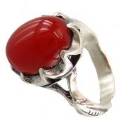 انگشتر عقیق قرمز برجسته دورچنگ