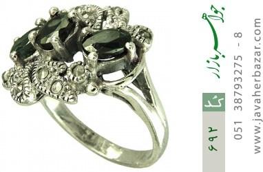 انگشتر یاقوت کبود طرح گل زنانه - کد 692