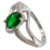 انگشتر نقره نگین سبز طرح دو حلقه ای زنانه