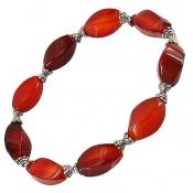 دستبند عقیق قرمز تراش ممتاز درشت زنانه