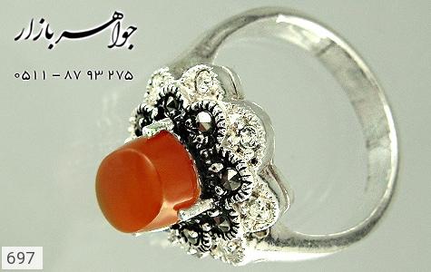 انگشتر عقیق گل دو رنگ زنانه - عکس 3