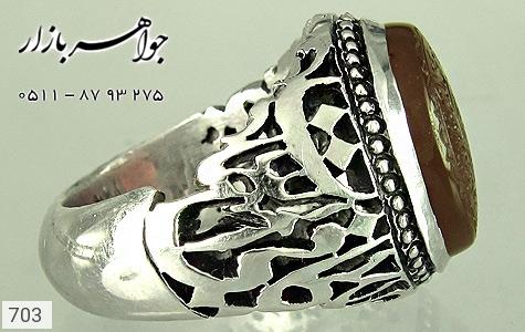 انگشتر عقیق لوکس حکاکی بسم الله الرحمن الرحیم استاد میر قلم زنی یا کافی المهمات دست ساز - تصویر 4