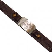 دستبند نقره و چرم اصل سایز درشت