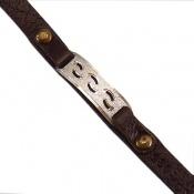 دستبند چرم و نقره اصل