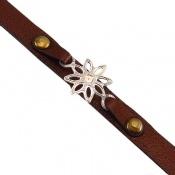 دستبند نقره و چرم اصل طرح ستاره