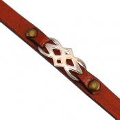 دستبند چرم و نقره اصل طرح اسپرت