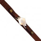 دستبند نقره و چرم اصل زنانه