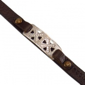 دستبند نقره و چرم اصل طرح جمیل
