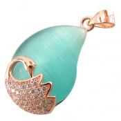 مدال چشم گربه درشت طرح پرنده زنانه