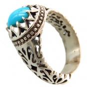 انگشتر فیروزه نیشابوری خوش رنگ دورچنگ مردانه