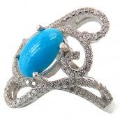 انگشتر فیروزه نیشابوری خوش رنگ سلطنتی زنانه