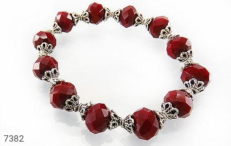 دستبند جید قرمز تراش زنانه - عکس 1