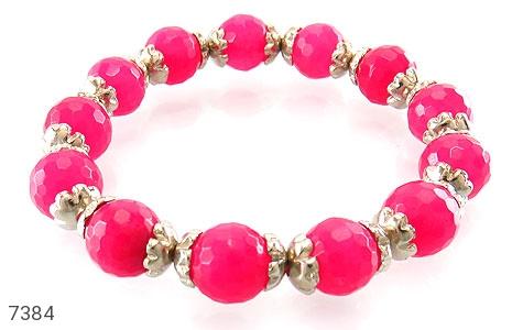 دستبند جید صورتی خوش رنگ زنانه - عکس 1