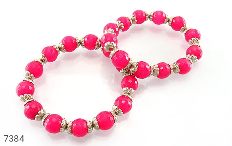 دستبند جید صورتی خوش رنگ زنانه - عکس 3