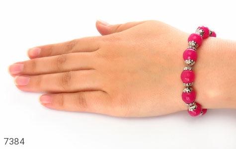 دستبند جید صورتی خوش رنگ زنانه - عکس 5