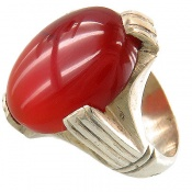 انگشتر عقیق یمن قرمز درشت و خوش رنگ اناری مردانه