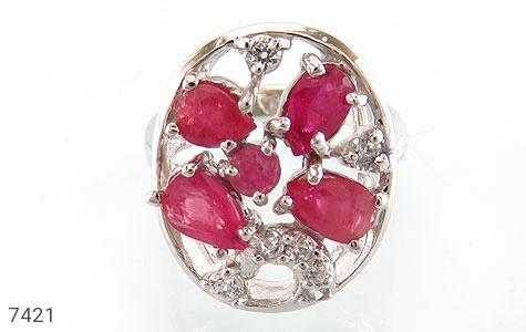 انگشتر یاقوت سرخ درخشان طرح کاملیا زنانه - تصویر 2