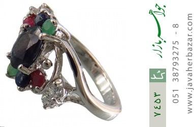 انگشتر زمرد و یاقوت سرخ و کبود طرح سارینا زنانه - کد 7453