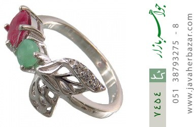 انگشتر زمرد و یاقوت سرخ درخشان طرح گلبرگ زنانه - کد 7454