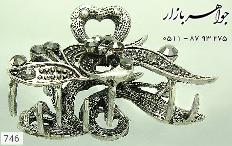 گل سر سیاه قلم نگین مشکی زنانه - عکس 1