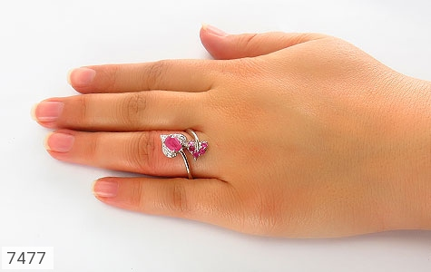 انگشتر یاقوت سرخ طرح گلبرگ زنانه - عکس 5