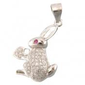مدال نقره فانتزی طرح خرگوش و قلب زنانه