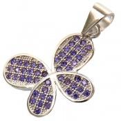 مدال نقره فانتزی طرح پروانه بنفش زنانه