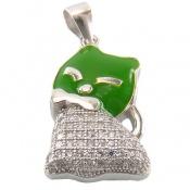 مدال نقره فانتزی طرح گربه سبز بچه گانه