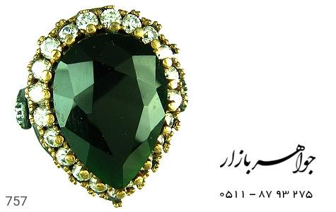 انگشتر نقره خرم سلطان طرح زمرد - تصویر 2